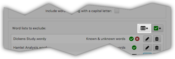 VocabHunter Word List Filter Button