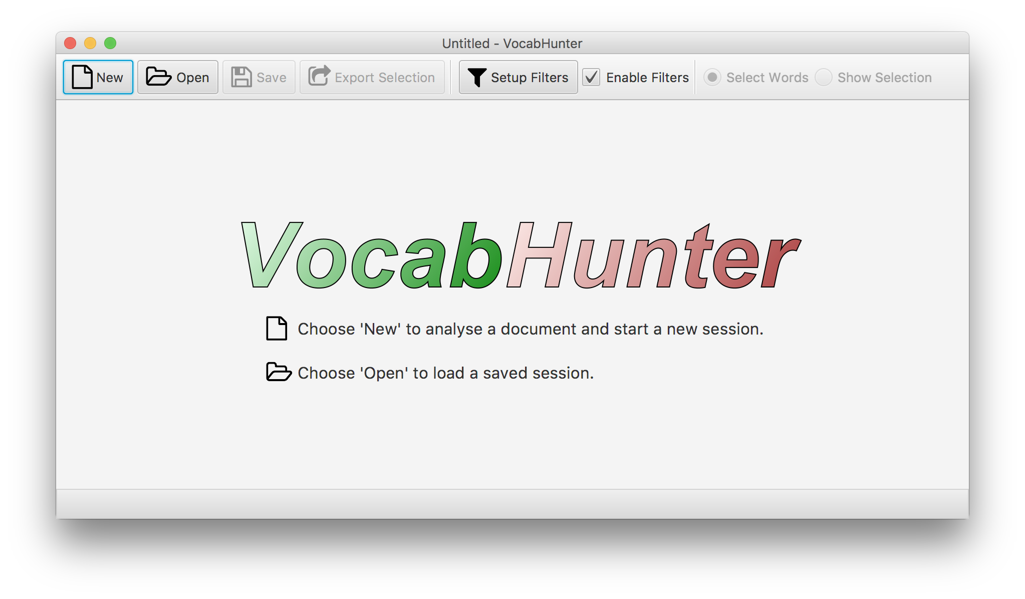 Screenshot of VocabHunter initial window